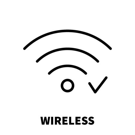 Wireless  Wi-Fi icon or logo in modern line style. High quality black outline pictogram for web site design and mobile apps. Vector illustration on a white background.