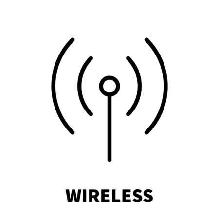 wireless: Wireless  Wi-Fi icon or logo in modern line style. High quality black outline pictogram for web site design and mobile apps.