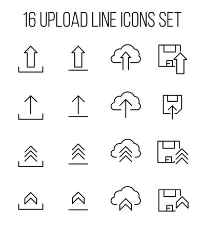 uploaded: Set of upload icons in modern thin line style. High quality black outline symbols for web site design and mobile apps. Simple upload pictograms on a white background.