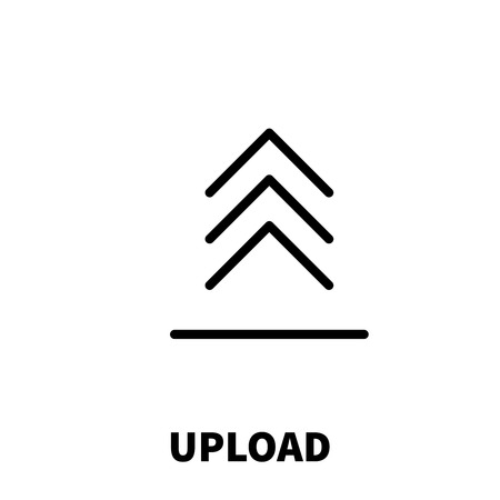 uploading: Upload icon or logo in modern line style. High quality black outline pictogram for web site design and mobile apps. Vector illustration on a white background.