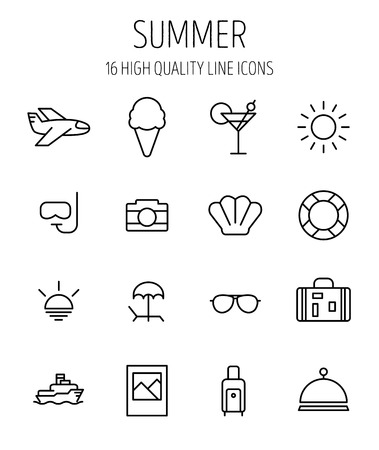 palm reading: Set of summer icons in modern thin line style. Illustration
