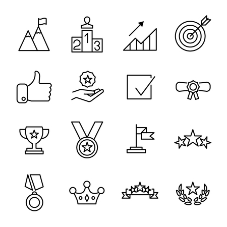 Set of success icons in modern thin line style. High quality black outline achievement symbols for web site design and mobile apps. Vettoriali