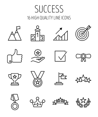 Set of success icons in modern thin line style. High quality black outline achievement symbols for web site design and mobile apps. Simple success pictograms on a white background. Vettoriali