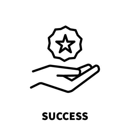 Success icon or logo in modern line style. High quality black outline pictogram for web site design and mobile apps.