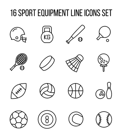 american table: Set of sport equipment icons in modern thin line style. High quality black outline sport symbols for web site design and mobile apps. Simple equipment pictograms on a white background.