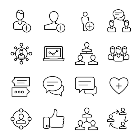 Set of social network icons in modern thin line style. High quality black outline network symbols for web site design and mobile apps. Simple social pictograms on a white background.