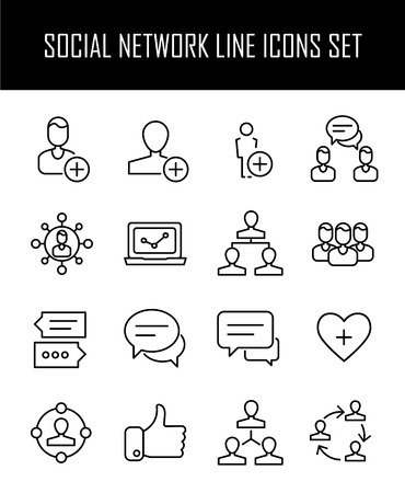Set of social network icons in modern thin line style. High quality black outline network symbols for web site design and mobile apps. Simple social pictograms on a white background. Vetores