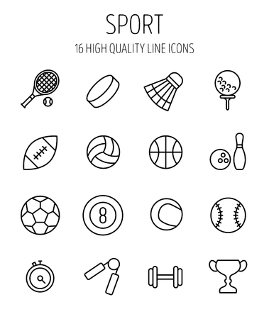 american table: Set of sport icons in modern thin line style. High quality black outline acivity symbols for web site design and mobile apps. Simple sport pictograms on a white background. Illustration
