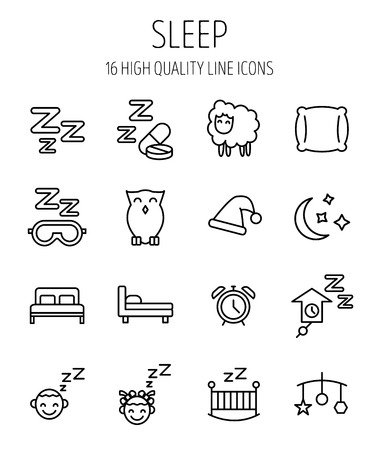 double bad: Set of sleep icons in modern thin line style. High quality black outline nap symbols for web site design and mobile apps. Simple sleep pictograms on a white background.