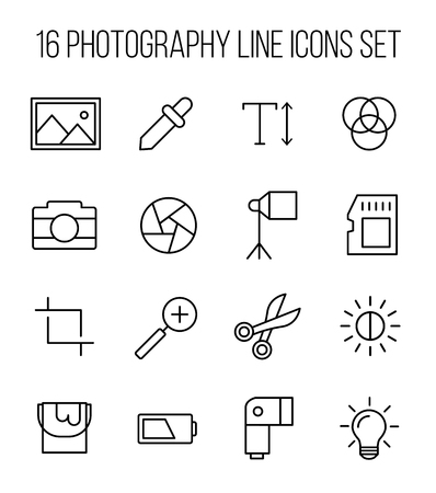 polarizing: Set of photography icons in modern thin line style. High quality black outline camera symbols for web site design and mobile apps. Simple photography pictograms on a white background. Illustration
