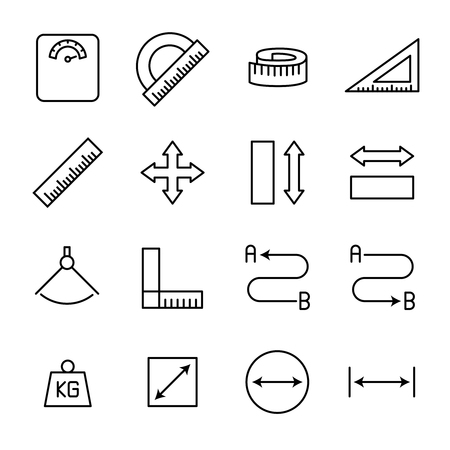 perimeter: Set of measuring icons in modern thin line style. High quality black outline measure symbols for web site design and mobile apps. Simple measuring pictograms on a white background. Illustration