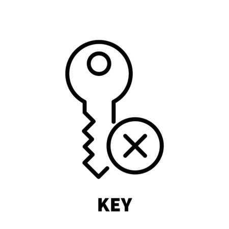 Key icon or logo in modern line style. High quality black outline pictogram for web site design and mobile apps. Vector illustration on a white background. Illustration