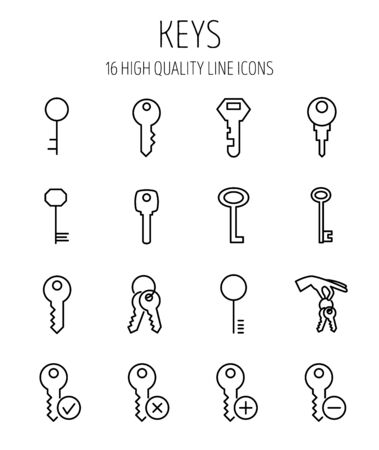 Set of key icons in modern thin line style. High quality black outline access symbols for web site design and mobile apps. Simple key pictograms on a white background.