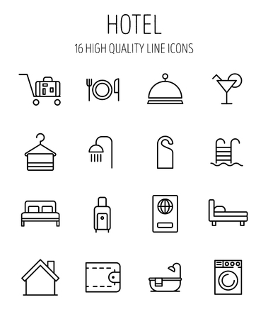 breakfast in bed: Set of hotel icons in modern thin line style.