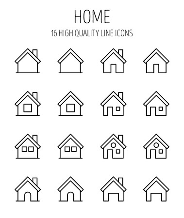 picto: Set of home icons in modern thin line style. High quality black outline house symbols for web site design and mobile apps. Simple home pictograms on a white background.