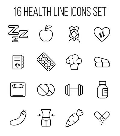 Set of health icons in modern thin line style. High quality black outline medical symbols for web site design and mobile apps. Simple health pictograms on a white background. Illustration