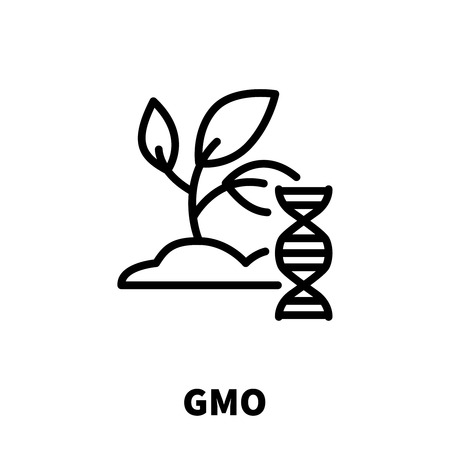 modification: GMO icon or logo in modern line style. High quality black outline pictogram for web site design and mobile apps. Vector illustration on a white background.