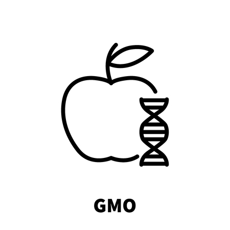 genetic modification: GMO icon or logo in modern line style. High quality black outline pictogram for web site design and mobile apps. Vector illustration on a white background.