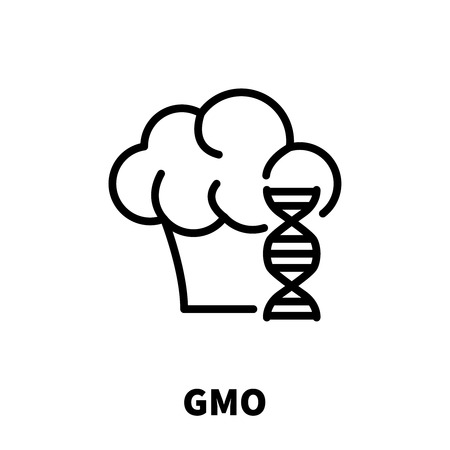 GMO icon or logo in modern line style. High quality black outline pictogram for web site design and mobile apps. Vector illustration on a white background.
