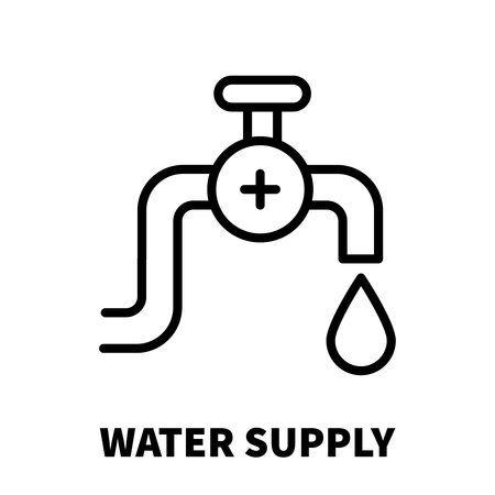 mediator: Water supply icon or logo in modern line style. High quality black outline pictogram for web site design and mobile apps. Vector illustration on a white background.