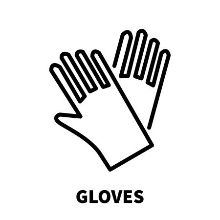 latex: Gloves icon or logo in modern line style. High quality black outline pictogram for web site design and mobile apps. Vector illustration on a white background.