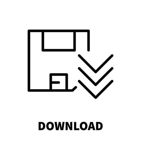 download icon: Download icon or logo in modern line style. High quality black outline pictogram for web site design and mobile apps. Vector illustration on a white background. Illustration