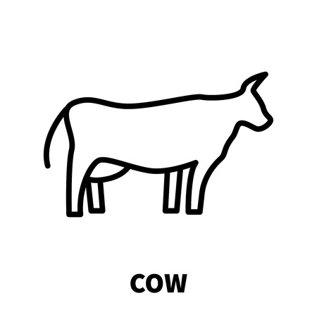 Cow icon or logo in modern line style. High quality black outline pictogram for web site design and mobile apps. Vector illustration on a white background.