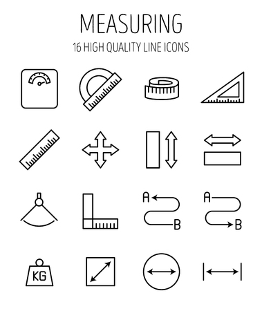 Set of measuring icons in modern thin line style. High quality black outline measure symbols for web site design and mobile apps. Simple measuring pictograms on a white background. Illustration