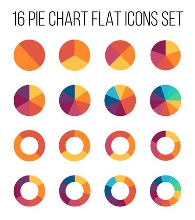 Set of pie chart icons in modern thin flat style. High quality black diagram symbols for infographic. Simple pie chart elements on a white background.