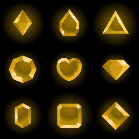 Set of different shapes gems. High quality gold gemstones, crystals, diamonds. Vector illustration on a black background.