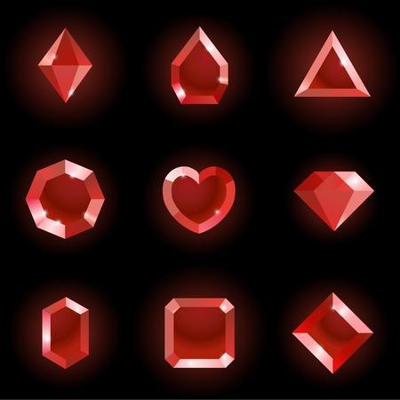 Set of different shapes gems. High quality red gemstones, crystals, diamonds. Vector illustration on a black background. Illustration