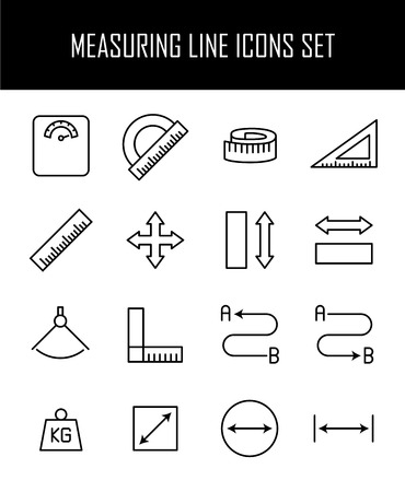 depth measurement: Set of measuring icons in modern thin line style. High quality black outline measure symbols for web site design and mobile apps. Simple measuring pictograms on a white background. Illustration