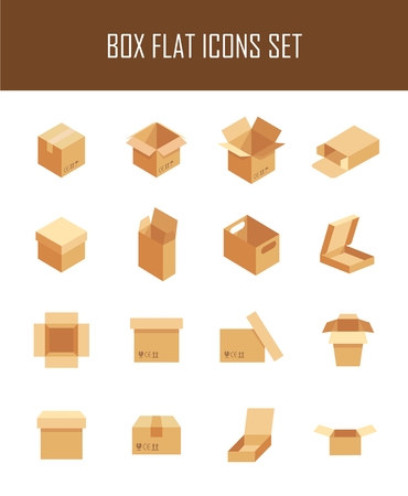 pasteboard: Set of box in modern flat style. High quality pack symbols for web site design and mobile apps. Simple flat box picture on a white background.