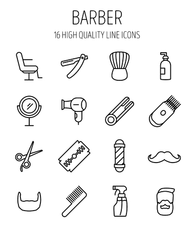 set of men hair styling: Set of barber in modern thin line style. High quality black outline barber shop symbols for web site design and mobile apps. Simple linear hair care pictograms on a white background.