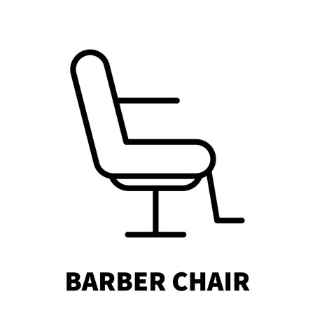 Barber chair icon or logo in modern line style. High quality black outline pictogram for web site design and mobile apps. Vector illustration on a white background.