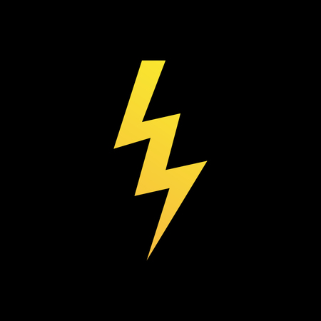 dazzle: Lightning bolt icon or logo in modern flat style. High quality black outline thunderbolt pictogram for web site design and mobile apps. Vector illustration on a white background.