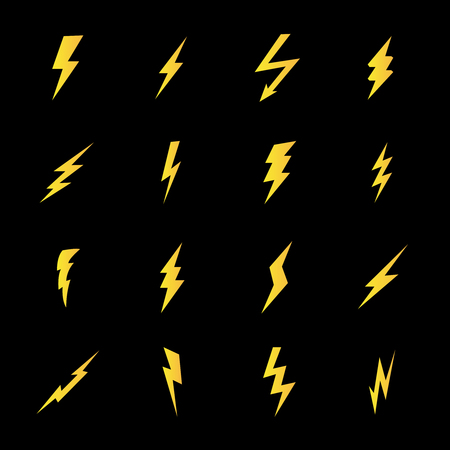 Set of lightning bolt icons in modern flat style. High quality black outline thunderbolt symbols for web site design and mobile apps. Simple bolt pictograms on a white background.