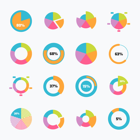 Set of pie chart icons in modern thin flat style. High quality black diagram symbols for infographic. Simple pie chart elements on a light background.