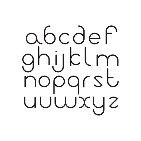 Elegant line orbed font. Circle latin regular alphabet. Black thin letters on a white background.