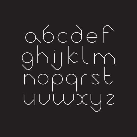 Elegant line orbed font. Circle latin regular alphabet. White thin letters on a black background.