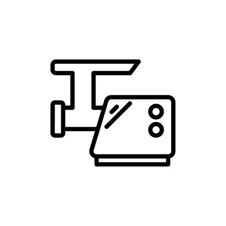 細い線肉グラインダー アイコン。ベクター グラフィックは、白い背景で隔離。肉挽き機の簡単なアウトラインのピクトグラム。