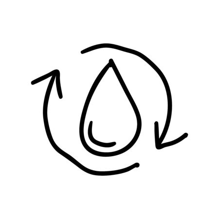 Water icon or logo in modern doodle style. High quality black outline pictogram for web site design and mobile apps. Vector illustration on a white background.