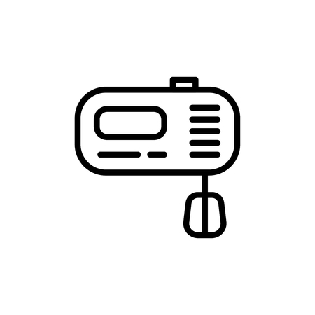 Thin line hand mixer icon. Vector illustration isolated on a white background. Simple outline pictogram of hand mixer.