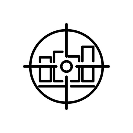 Thin line data analysis icon. Vector illustration isolated on a white background. Simple outline pictogram of data analysis. Illustration