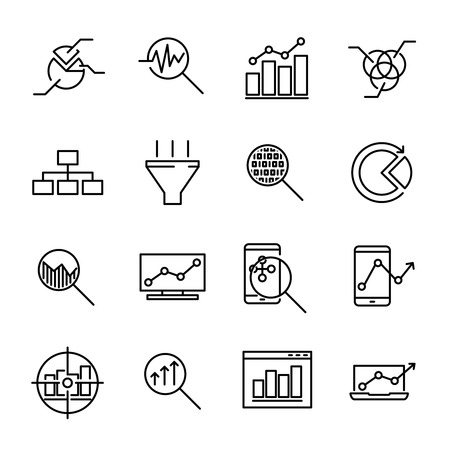 Set of 16 data analysis thin line icons. High quality pictograms of kitchen data analysis. Modern line art style icons collection. Charts, Graphs, Traffic Analysis, Big Data and more.