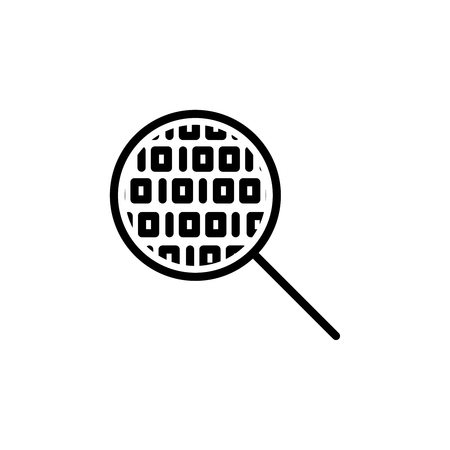 observation: Thin line data analysis icon. Vector illustration isolated on a white background. Simple outline pictogram of data analysis. Illustration