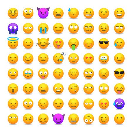 Set of cute smiley emoticons, emoji flat design isolated on white background, vector illustration.