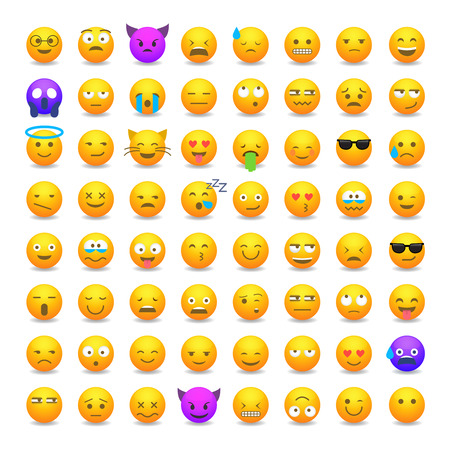 Conjunto de emoticonos sonrientes lindos, diseño plano del emoji aislado en el fondo blanco, ilustración del vector.