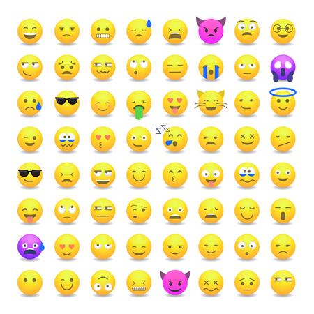 Set Of Cute Smiley Emoticons Emoji Flat Design Royalty Free