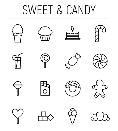 Set of sweets icons in modern thin line style. High quality black outline candy symbols for web site design and mobile apps. Simple linear sweets pictograms on a white background.